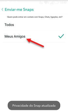 Permitir apenas amigos entrarem em contato no Snapchat