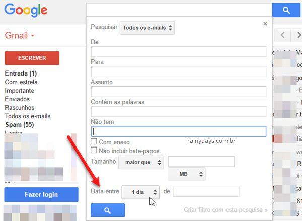 Pesquisar data entre tantos dias de tal dia Gmail