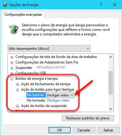 Programar botão power para apagar a tela no Windows 10