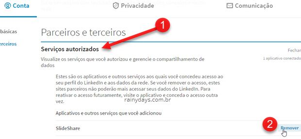 Remover acesso de aplicativos à conta LinkedIn
