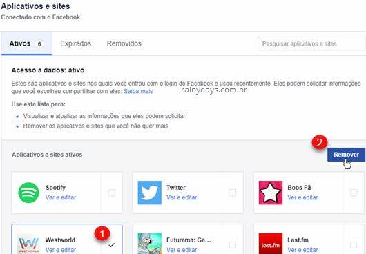 Remover aplicativos e jogos da conta do Facebook revogar