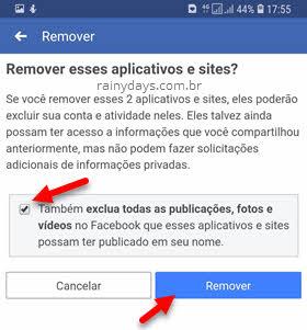 Remover aplicativos e sites da conta do Facebook