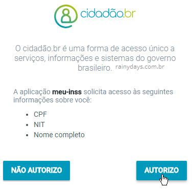 Autorizar cidadão br a acessar dados meu inss