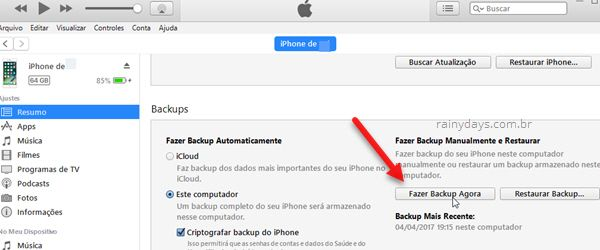 Backup manual do iPhone pelo iTunes