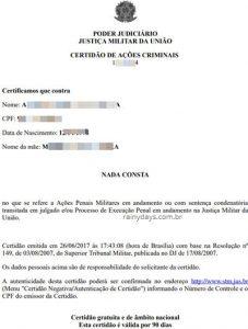 Emitir Certidão de antecedentes da Justiça Militar federal