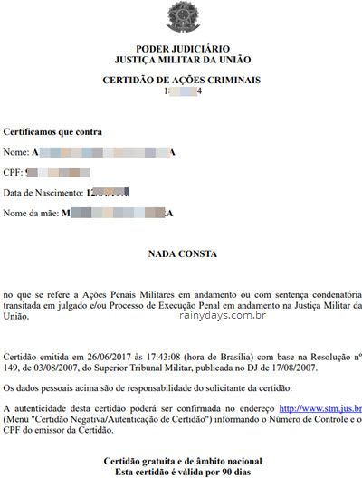 Certidão Negativa do Tribunal Militar federal