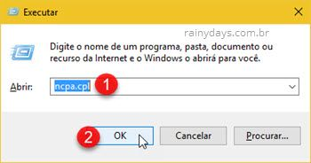 comando ncpa.cpl Executar Windows