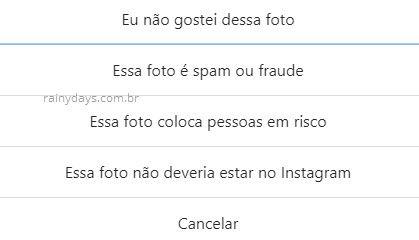 Como denunciar post no Instagram web