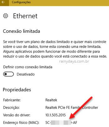 Como descobrir MAC Address do Windows cabo