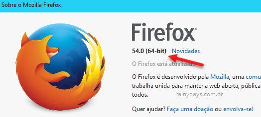 Como visualizar versão do Firefox