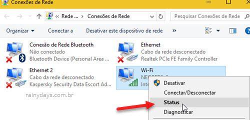 Conexões de Rede Status conexão ativa Windows