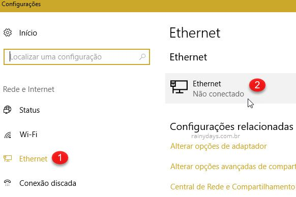 Configurações Ethernet Windows
