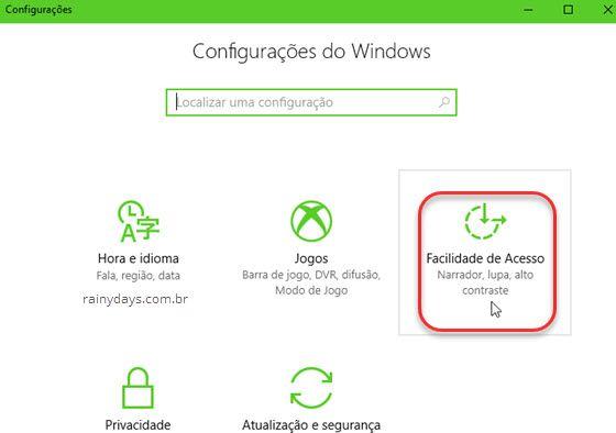 Configurações Facilidade de Acesso Windows