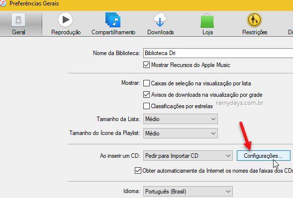 Configurações importar CD iTunes
