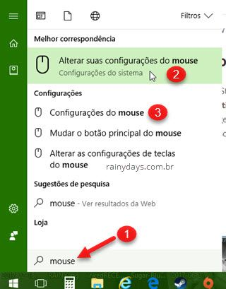 configurações do mouse no Windows