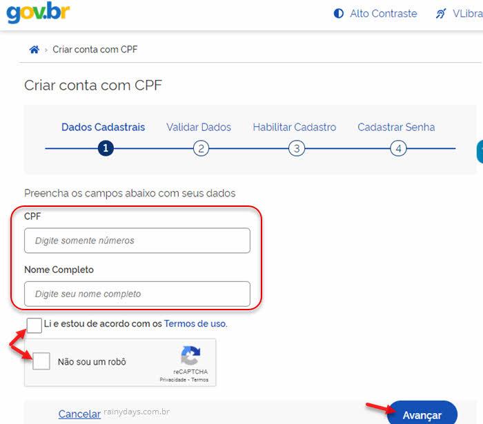 Criação de conta no Meu Gov.br com número do CPF