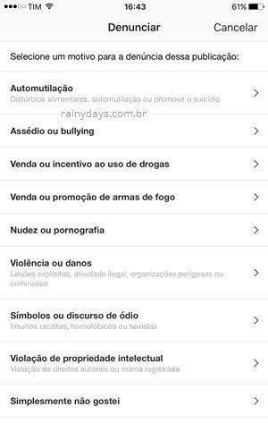 Denunciar post violento nudez no Instagram app