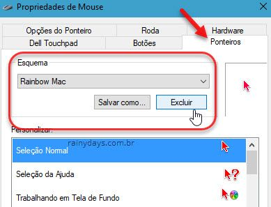 desinstalar pacote de cursor Windows