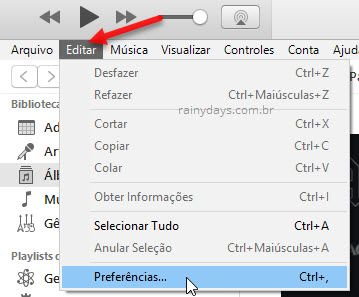editar preferências iTunes
