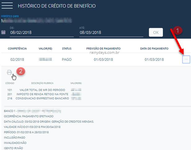 Emitir histórico de crédito de benefício INSS