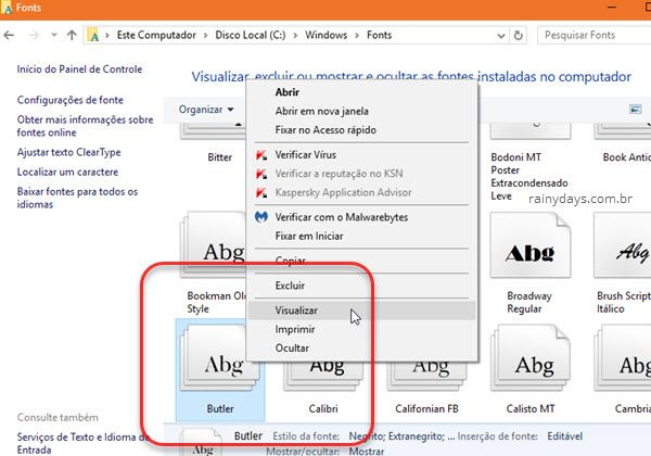 excluir visualizar imprimir fontes do Windows