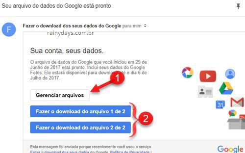 Fazer donwnload dos seus dados do Google