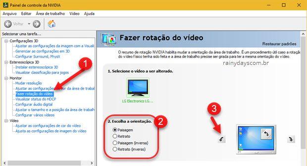 Fazer rotação do vídeo placa NVIDIA