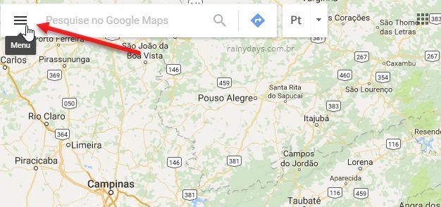 ícone de três traços Google Maps