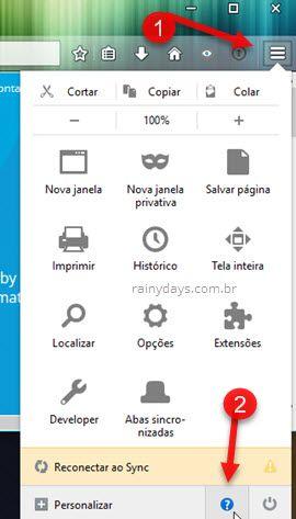 ícone interrogação Firefox
