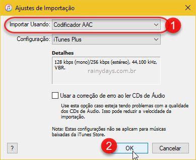 importar usando codificador AAC iTunes