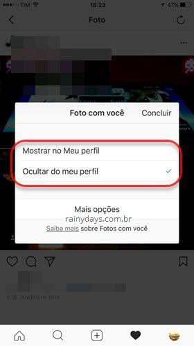mostrar ou ocultar foto marcada Instagram