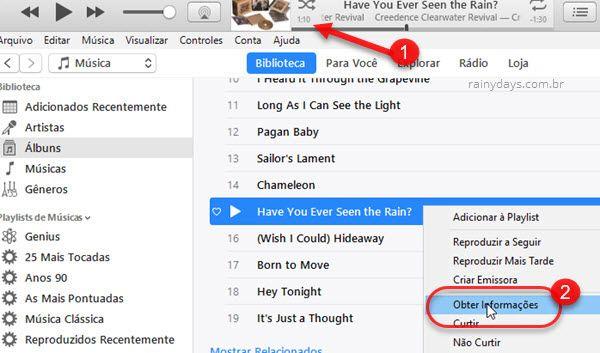 Obter informações de música no iTunes iPhone
