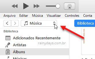 opção Música no iTunes