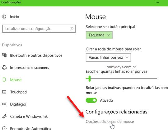 Opções adicionais de mouse Windows