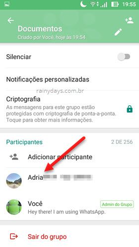 participantes do grupo WhatsApp