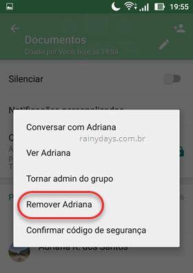 remover contato do grupo WhatsApp