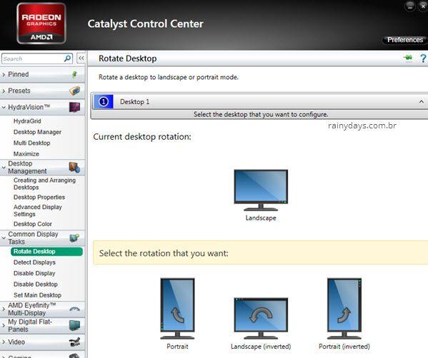 Rotacionar tela do Windows AMD Catalyst Control Center