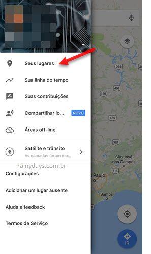 Seus lugares Google Maps app