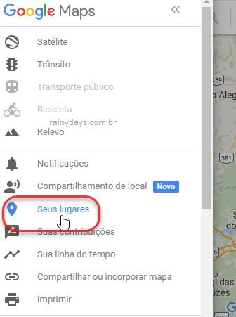 Seus lugares Google Maps