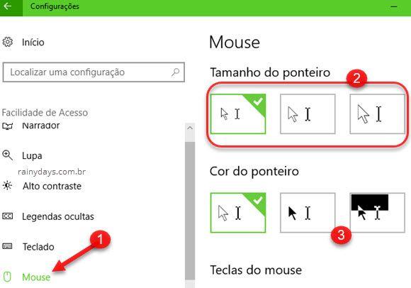 Tamanho do ponteiro do mouse Windows acessibilidade