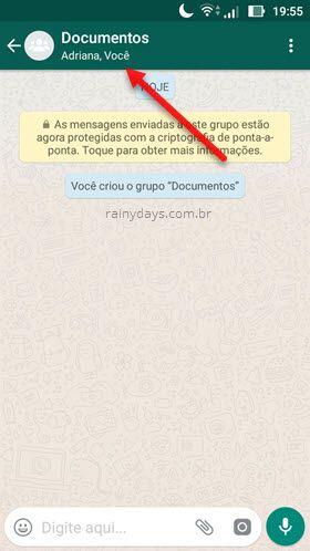 toque nome do grupo WhatsApp detalhes