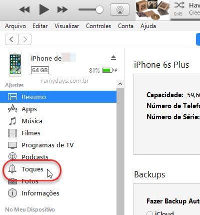 toques dentro do iPhone no iTunes