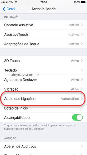 Acesssibilidade Áudio das Ligações iPhone
