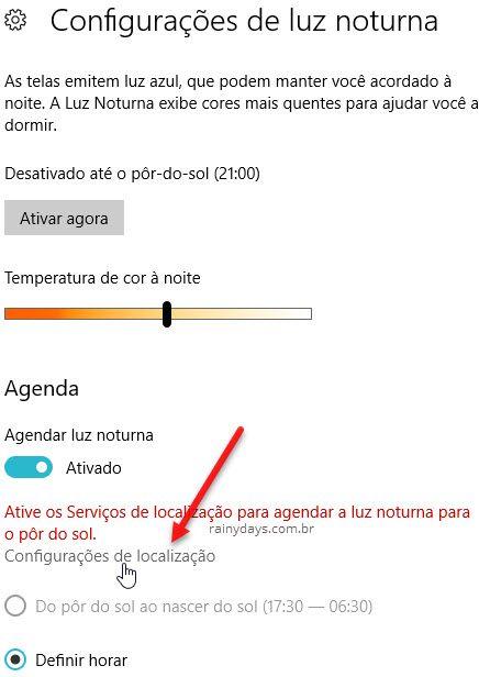 Agendar Luz Noturna Configurações Localização WIndows