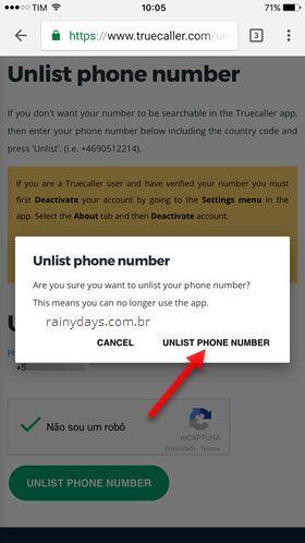 apagar telefone app Truecaller Android iOS