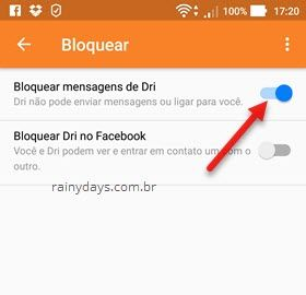 bloquear contato no Messenger Android
