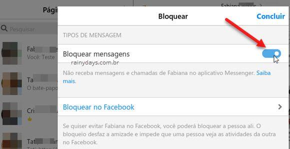 bloquear mensagens de pessoa no app Messenger Windows 10