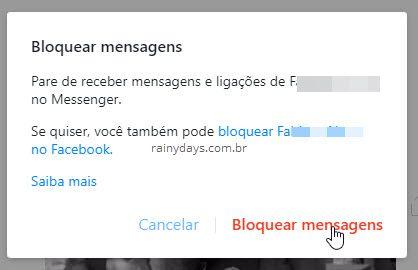 bloquear mensagens de pessoa no Messenger Face