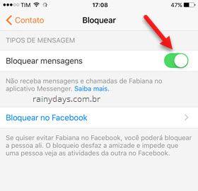 Bloquear mensagens de pessoa no Messenger iOS