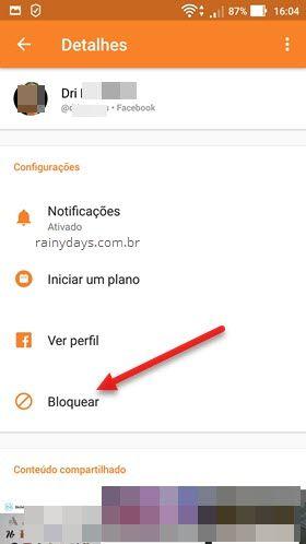 bloquear pessoa aplicativo Messenger Android